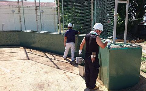 市立金栄小学校バックネット基礎塗装ボランティア